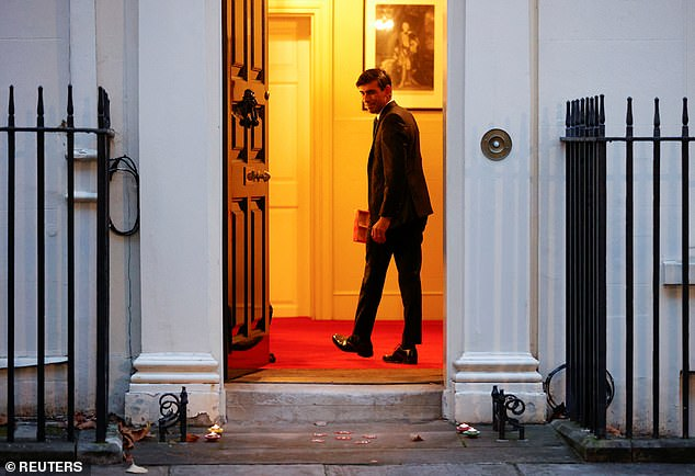 Boris Johnson has been warned that his time in power might be running out with MPs claiming Rishi Sunak (pictured in Downing Street last week) is 'agitating like fury' to take over