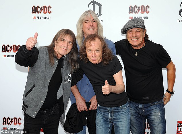 Legendary: AC/DC was formed in Sydney in 1973 by Angus and Malcolm, and they are best known for hits including Thunderstruck, Highway To Hell and Hells Bells. Pictured in 2011 from L to R: Malcolm, Cliff Williams, Angus (centre), and Brian Johnson