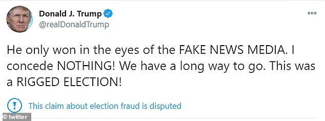 He, however, clarified in a tweet sent an hour later that he was not 'conceding' to Biden and that he 'only won in the eyes of the FAKE NEWS MEDIA'