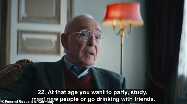 In comments pointed at Germany's younger demographic, the elderly man speaks of the sacrifices that had to be made during lockdown