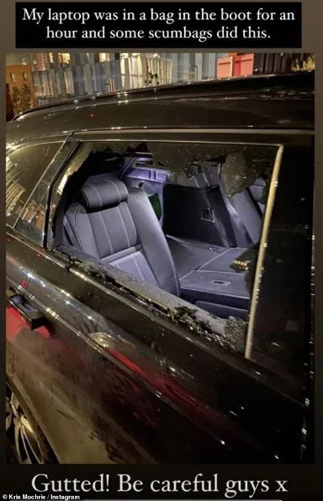 Taken by surprise: Emmerdale's Kris Mochrie felt 'gutted' when he discovered that 'scumbag' thieves had broken into his vehicle to steal his personal items