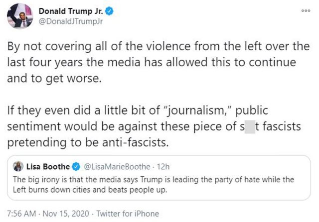 Donald Trump Jr. also joined in on the criticism, claiming lack of coverage has emboldened those who exhibit violence against pro-Trump voices