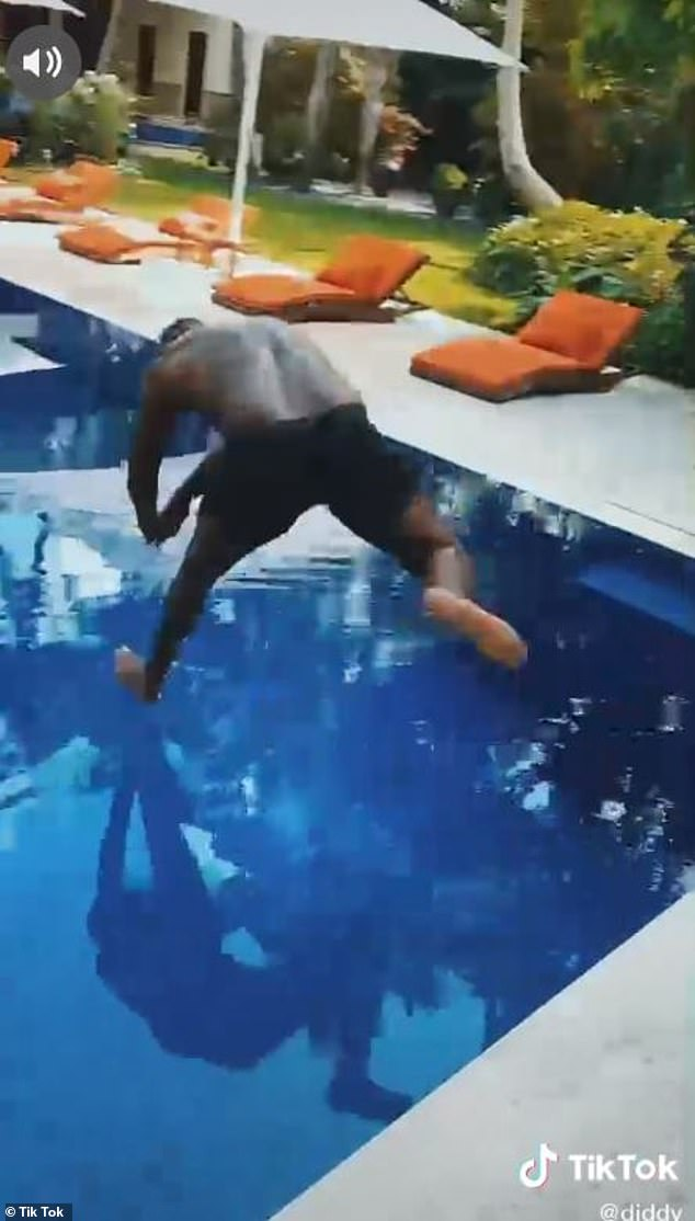 Progress: Combs also posted the video to his Instagram account with the caption 'working on my dive'