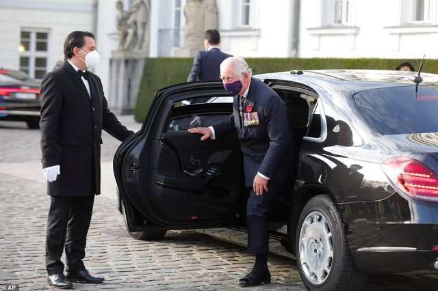 Prince Charles arrives for a meeting with German President Frank-Walter Steinmeier at Bellevue Palace in Berlin