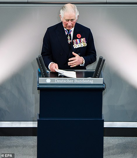 The prince delivers a speech during the memorial ceremony in Germany