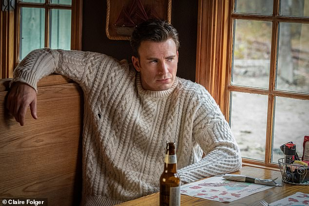 Close: Chris' cable knit sweater was a more low-key version of the very busy item he wore in the blockbuster mystery¿comedy Knives Out