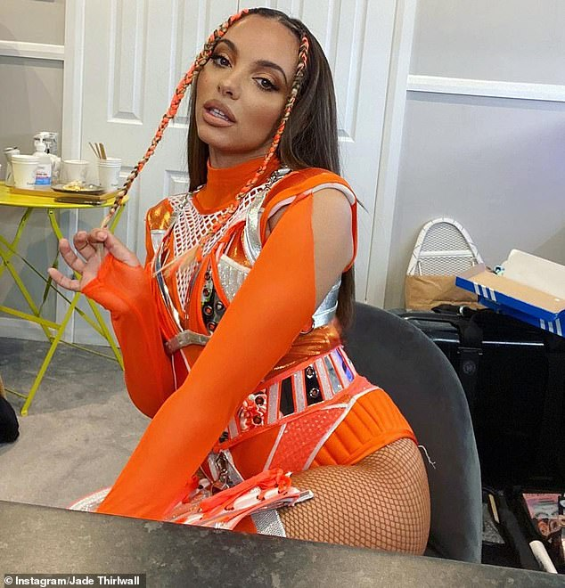 Merry: Jade Thirlwall, 27, said Little Mix 'got a bit merry'and recorded a lot of songs in one day at the beginning of making Confetti