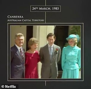 Then and now: The remarkable likeness to reality was also on display in footage of the royal couple meeting then-Prime Minister Bob Hawke on March 23, 1983
