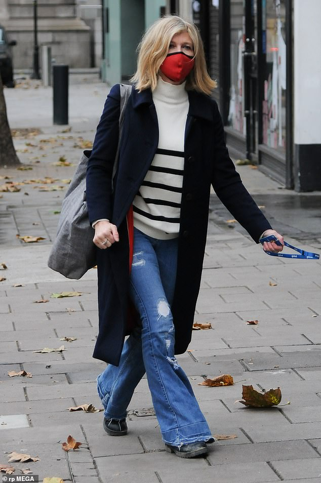 Outing:Kate Garraway was seen arriving at Global Radio in London on Monday, days after giving an update on her husband Derek Draper's battle with COVID-19