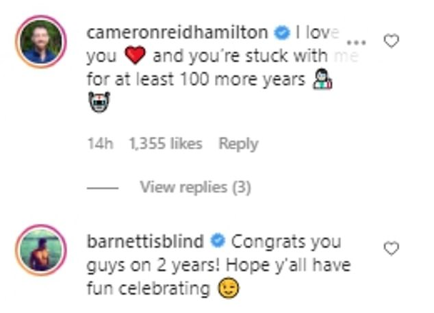 Cheeky!Barnett, 30, was quick to comment on the posts as he quipped: 'Congrats you guys on 2 years! Hope y'all have fun celebrating,' followed by a wink emoji