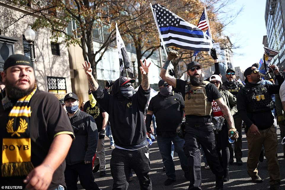 Members of the far-right Proud Boys rally in support of Trump to protest against the results of the 2020 US election