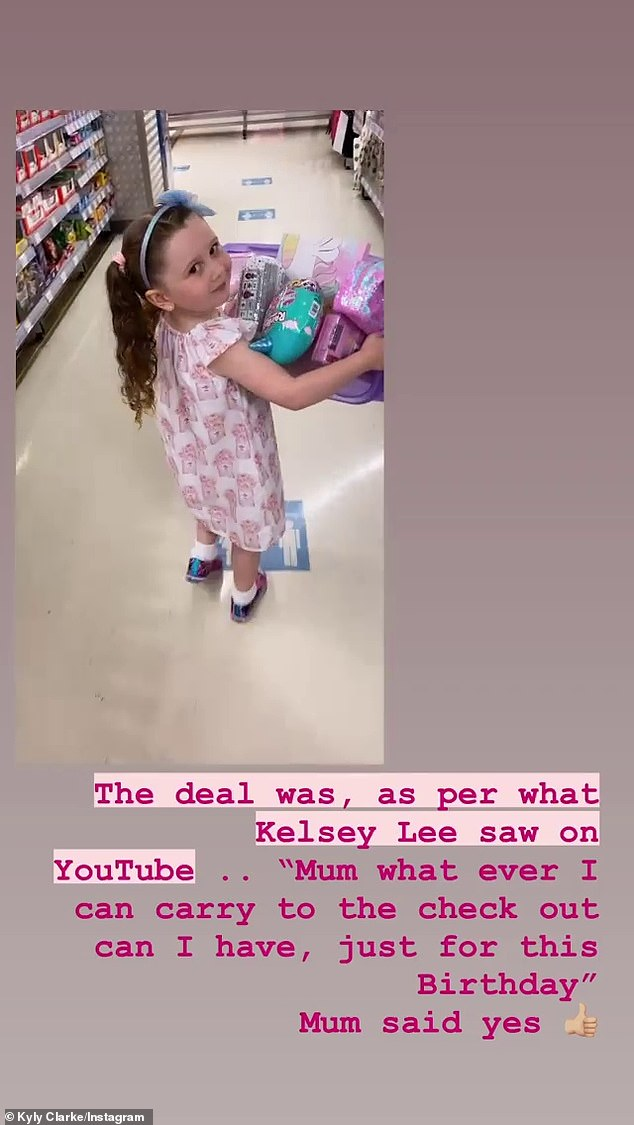 Lucky ducky:On Monday, Kyly took Kelsey on a shopping spree for her birthday, allowing her to buy as many toys as she could carry to the cash resister
