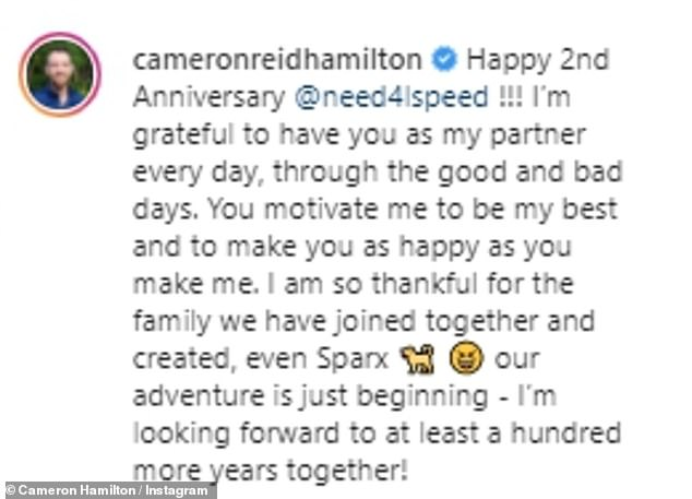 Lovely:Taking to social media over the weekend, Cameron and Lauren as well as Barnett and Amber celebrated their two-year wedding anniversary