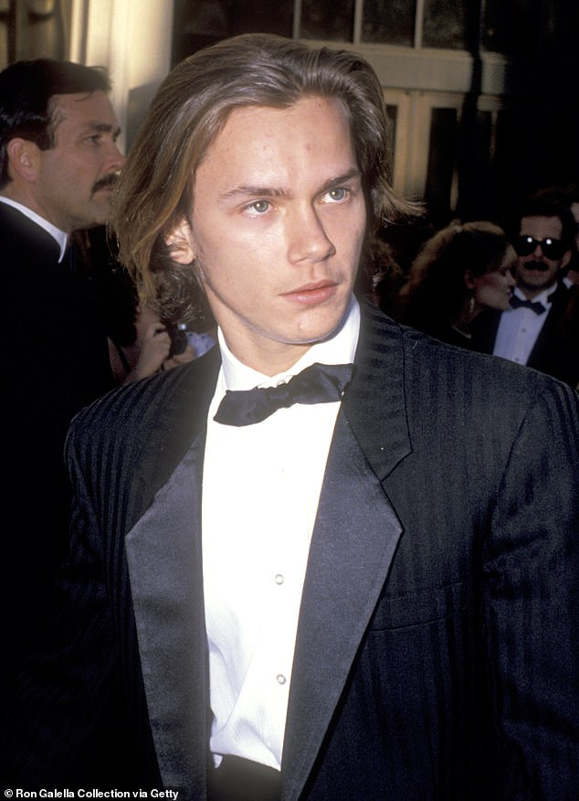 Shock: River was just 23 when he collapsed outside of West Hollywood nightclub The Viper Rooms, abruptly bringing to an end a hugely successful acting career. Pictured in 1989