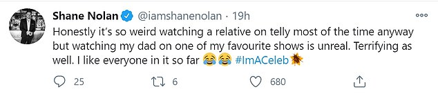 Excitement:In another tweet, Shane admitted it's 'unreal' to watch his father taking part on his favourite TV show