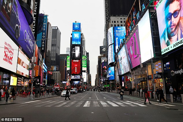 Tourism in New York City could take five years to return to normal with new forecasts predicting visitors will only start returning to the Big Apple in mid-2021.A nearly empty 7th Avenue in Times Square is seen at rush hour after lockdowns were introduced