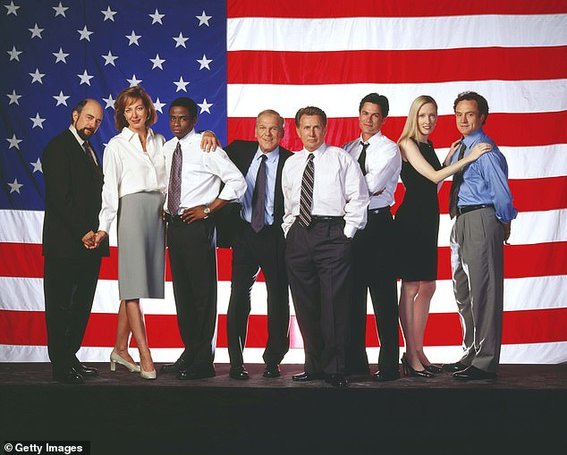 His hit show: The actor is best known for his work on The West Wing; seen here far left with Martin Sheen, Robe Lowe and others. He and his wife Sheila Kelley currently star together in 'The Good Doctor' which is continuing to film as the couple recover from coronavirus