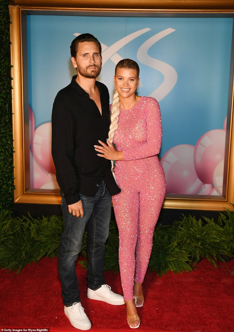 Former flame:The party date came just two months after Disick split with Sofia Richie, after three years of dating; Scott and Sofia pictured in 2019