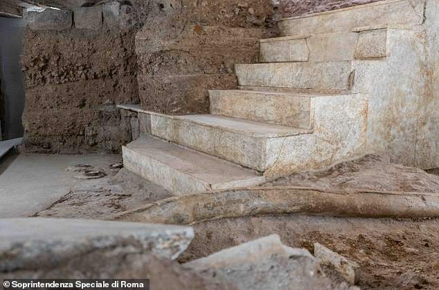 Pictured is the remains of a white marble staircase that linked different levels of the lavish garden