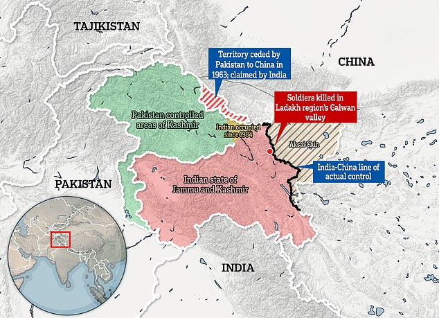 The disputed border area between India and China, where at least 20 soldiers were killed in a high-altitude brawl earlier this year
