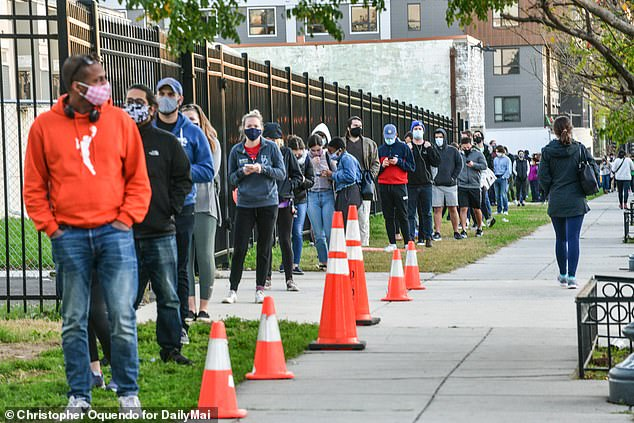 Hundreds of people in line for a COVID-19 test in Washington DC pictured above on Monday