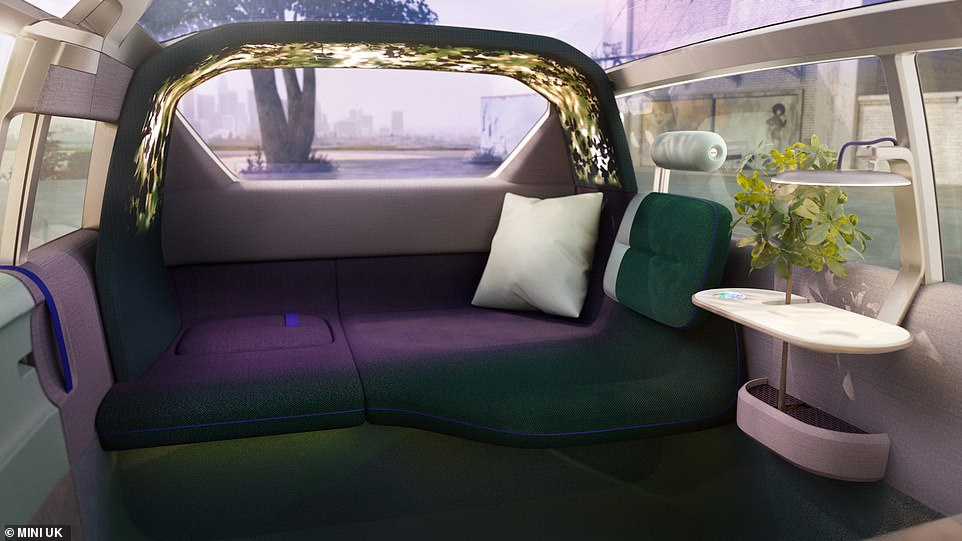 The concept even has a 'cosy corner' in the back of the car, which is a corner sofa built into the rear section of the vehicle's cabin