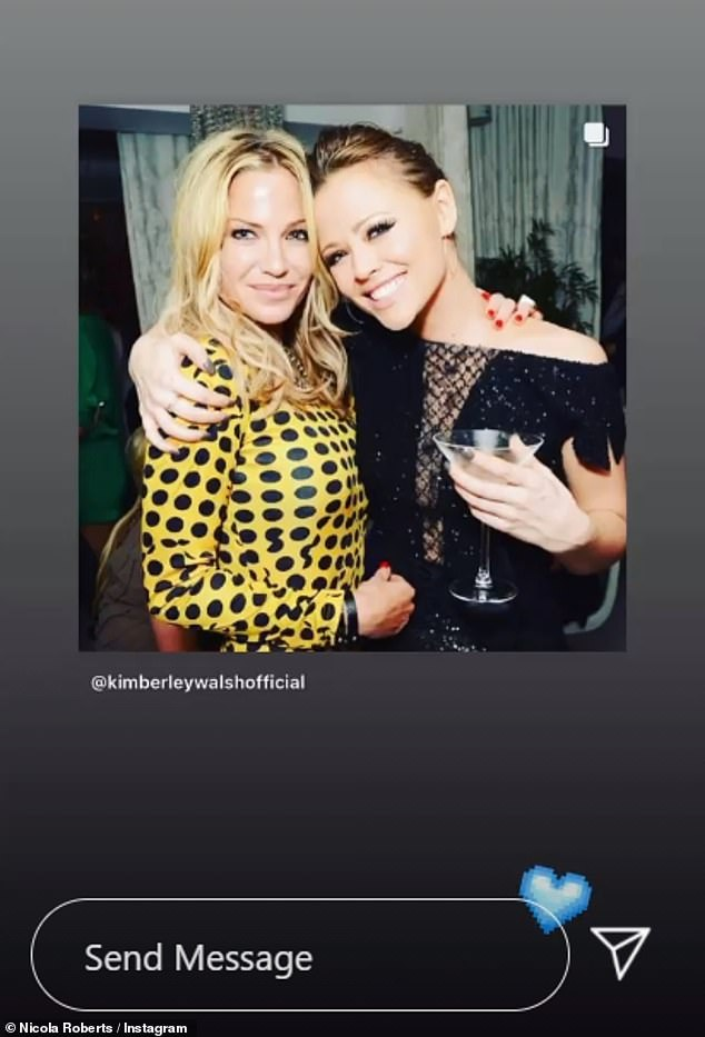 Sending love: Meanwhile, Nicola Roberts reposted Kimberley's post to her Stories along with a blue love heart