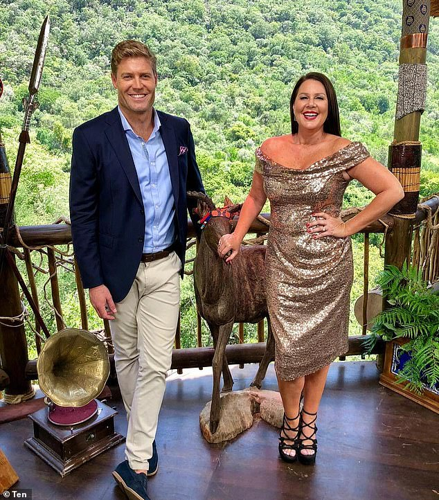 Dropped:Evans was set to join the cast of Channel Ten's I'm a Celebrity - which begins filming this week - but the network pulled the plug in response to his latest scandal. Pictured: hosts Dr Chris Brown and Julia Morris