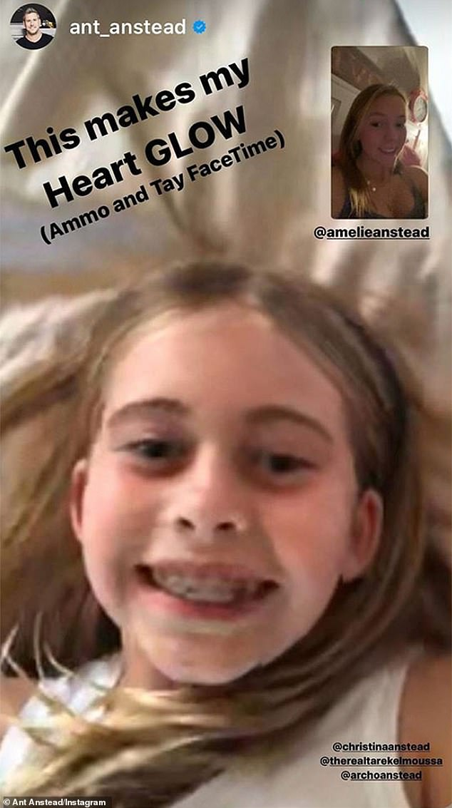 Family first: Christina Anstead's little girl Taylor was intent on keeping up with her former step sister Amelie with a FaceTime call shared to Instagram