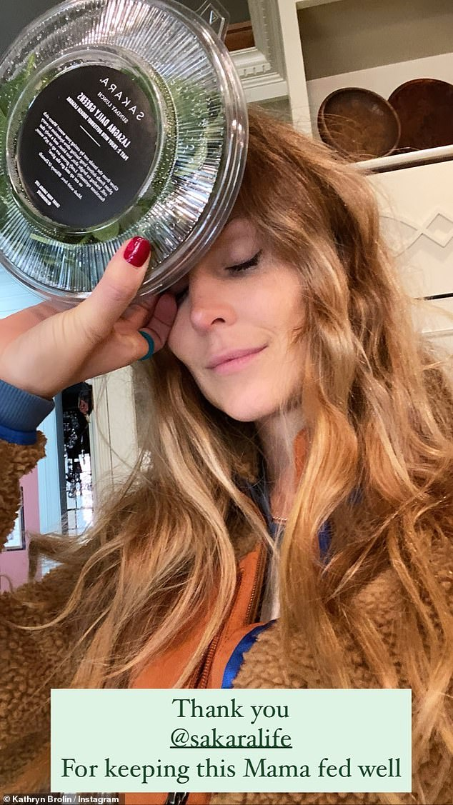 Fed well:In a follow-up post, Kathryn thanked health food delivery service Sakara Life 'for keeping this Mama fed well' over the course of her second pregnancy.