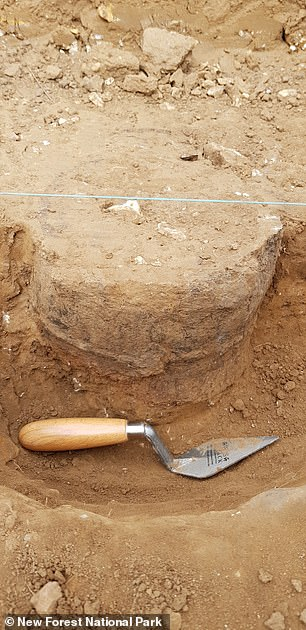 Investigation of the ring ditch is shining light on our understanding of ancient monument building and burial practices in the region, the team said. Pictured, the excavation of the urns