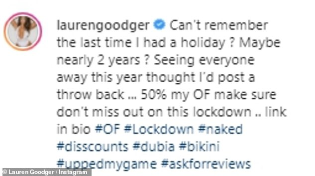 Fuming:The former TOWIE star, 34,lamented the fact she hasn't been on holiday in nearly two years while she also promoted her OnlyFans account