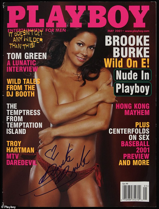 Flashback: Brooke starred on the cover of the famous adult magazine in 2004, posing topless and wearing red silky bottoms