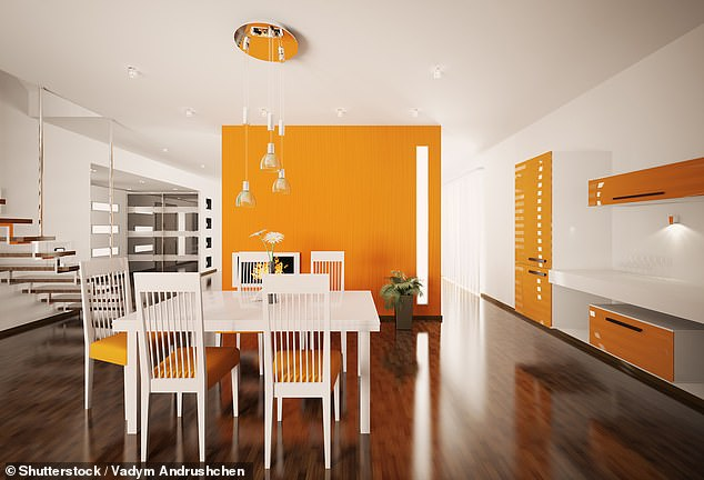 Orange is a good colour for a dinning room, as it conveys joy and encourages conversation, Alison said (stock picture)