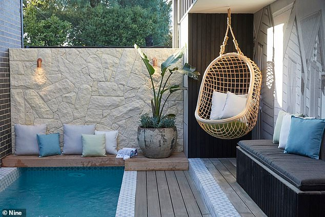 What an oasis:Their backyard however is most certainly impressive, and features a wooden deck, a pizza oven and a lap pool that judge Darren said was styled like a 'magazine cover'