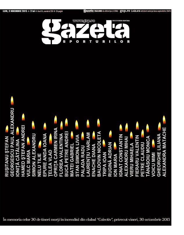 The front page of Gazeta Sporturilor, carrying the names of those killed after a fire broke out in 2015 at a crowded Bucharest nightclub
