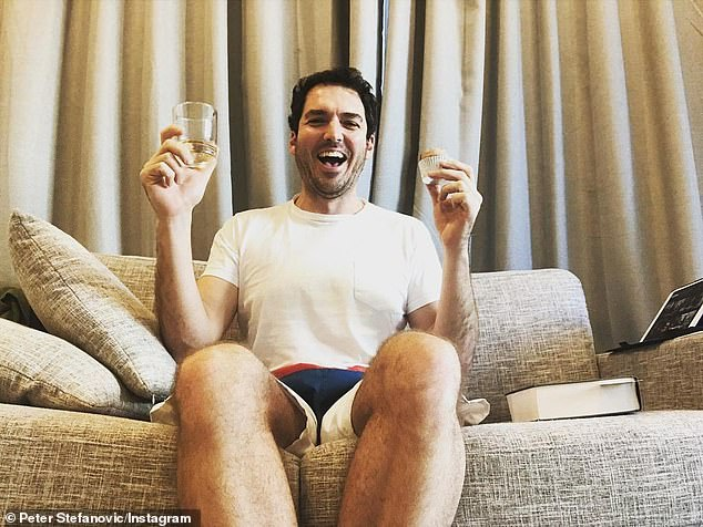Party for one! Peter Stefanovic (pictured) celebrated his 39th birthday in hotel quarantine on Thursday with a cupcake and whiskey after visiting the United States