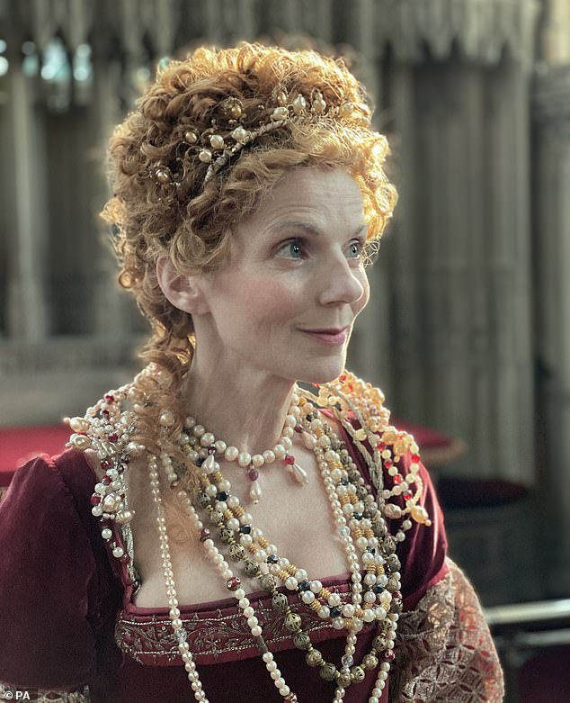 Transformation:For the first episode of Rainbow Woman, Geri was worlds away from her usual looks as she donned an illustrious red gown and wig to transform into Queen Elizabeth I