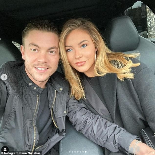 'I'm not having an easy ride': Shelby Tribble has shared an update after she was re-admitted to hospital with eclampsia hours after her baby boy was born (pictured with fiancé Sam Mucklow)