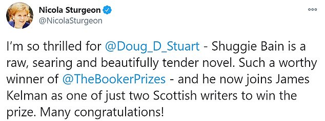 First Minister Nicola Sturgeon congratulated the author on his 'worthy' win tonight