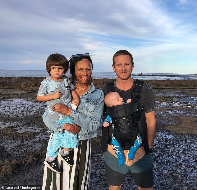 She went on to start a beautiful family with Mr Hoskin who she shares two sons with - two-year-old Hakavai and baby Rahiti (pictured together)