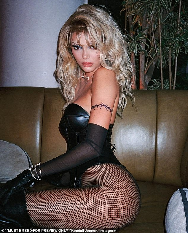 In costume: But Jenner and her pals treated it like any other Halloween, going all out with lavish costumes, like her sexy black leather Barb Wire costume
