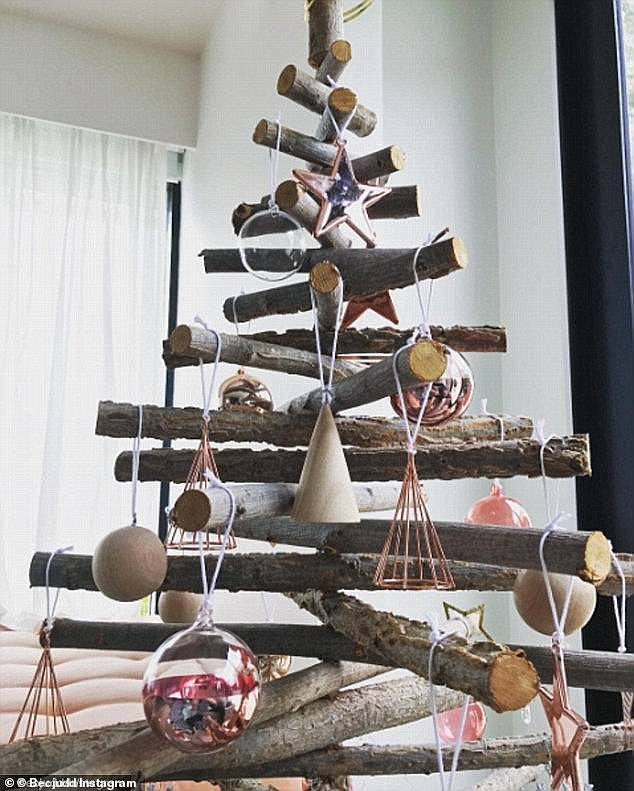 Gone but not forgotten:  She was previously trolled over her Scandi-style Christmas tree, which social media trolled as 'depressing' and 'un-festive' for her