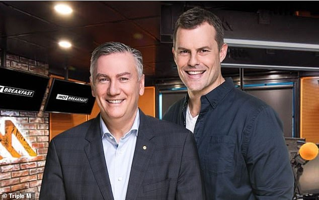 Struggle: Eddie conceded that he and his co-host Luke Darcy will find it extremely difficult to say goodbye. Pictured with co-hostLuke Darcy