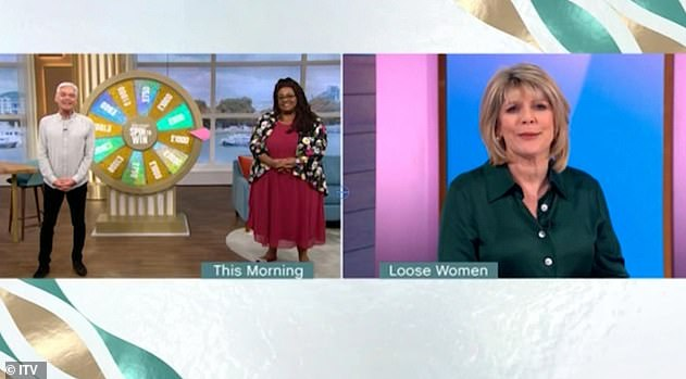 'Awkward': Alison, 45, was co-hosting the show with Phillip Schofield, having to do a live link to the Loose Women studio - another show Ruth presents