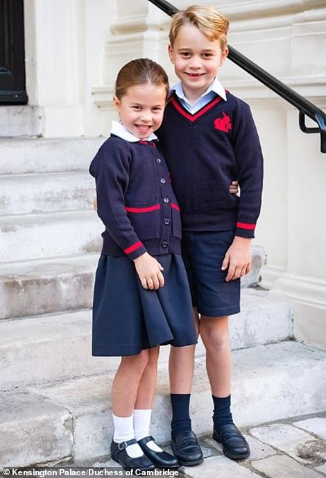 The young royals were photographed on the steps of Kensington Palace