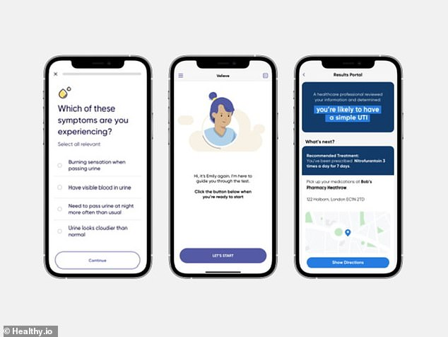 In-app questions have been answered regarding eligibility and symptoms, which will be sent to a medical professional with the urine test results for a diagnosis