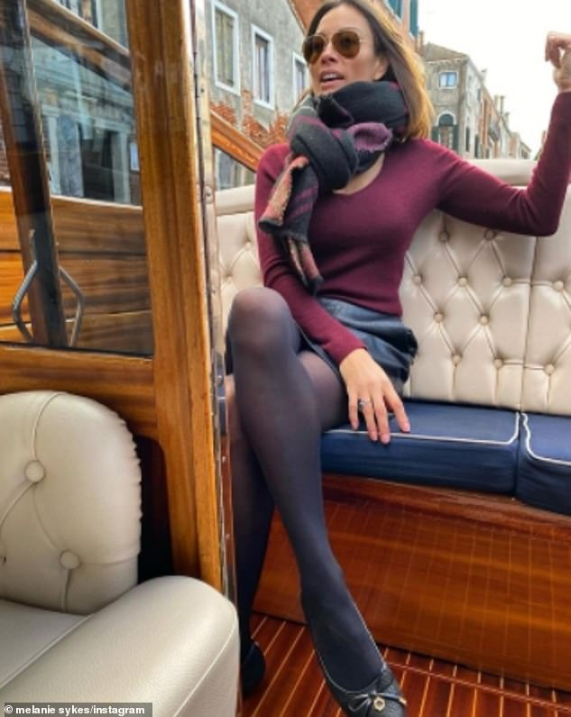 Travelling in style:Melanie also posted a picture of herself on a water taxi to her Instagram on Friday, tagging Riccardo again and a purple heart emoji