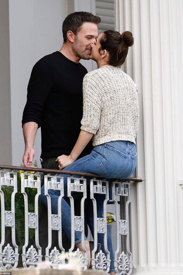 Going strong: Ben Affleck and Ana de Armas kissed passionately on the set of their erotic thriller Deep Water on Thursday as they reunited after not being spotted together for nearly three weeks