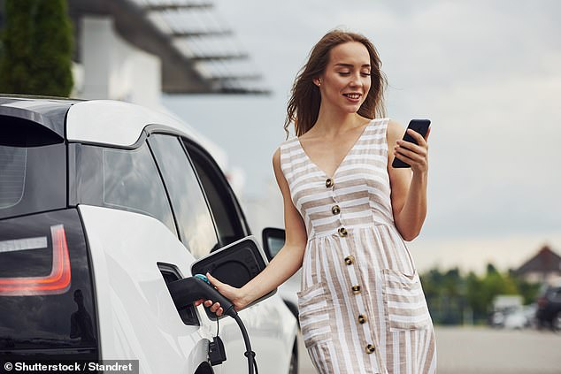 Earlier this week, Boris Johnson hailed a 10-point plan for a 'Green Industrial Revolution' — with the electric car at its centre. File photo of a woman charging an electric car